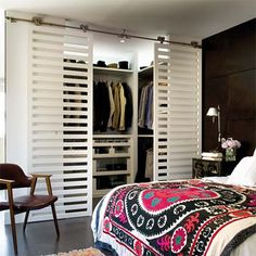 One day - My dressing room doors - replace solid built in cupboard closet doors with sliding slatted doors