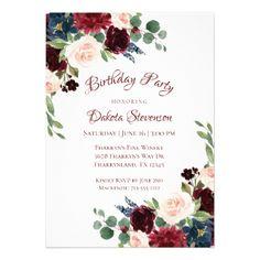 Brilliant Bloom | Navy Burgundy Graduation Party Card - graduation gifts giftideas idea party celebration