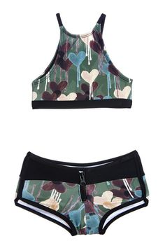 Camo Heart Racer Two Piece Kids Swimsuit Bikini""