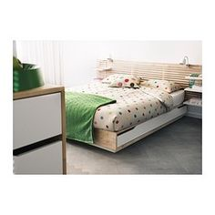 MANDAL Bed frame with storage, birch, white - 160x202 cm - IKEA