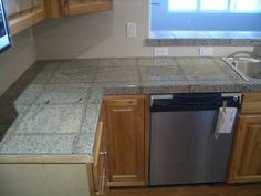 Granite Tile Kitchen Countertop and Bar Travertine Floor Tile, Granite Tile, Kitchen Cabinet Design, Granite Tile Countertops, Tile Countertops Kitchen, Granite Countertops, Open Kitchen Layouts, Countertops, Tile Kitchen Remodel