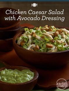 Dress up your favorite salad with avocado for a twist of Summer!   Chicken Caesar Salad with Avocado Dressing