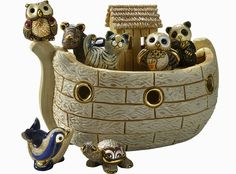 Noah's Ark White Ceramic Figurines Hand Carved by Derosa with Gold Trim - Animals