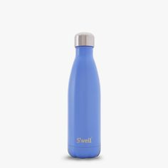 The new Swell Bottle, Monaco Blue, featured in a light blue satin finish. Double walled stainless steel thermos technology.
