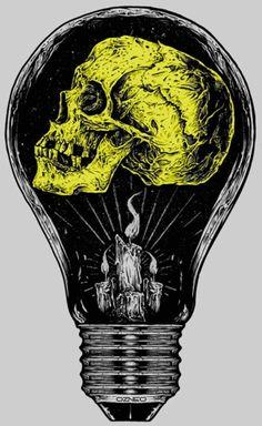 Skull light bulb poster and more skull inspirations at skullspiration.com
