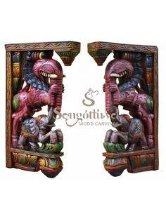 Wood Yaazhi with Elephant Multcoloured Brackets Wood Crown Molding, Door Brackets, Door Frames, Wooden Elephant, Indian Art Paintings, Wood Carving Art, Dark Wax, Interior Design Kitchen