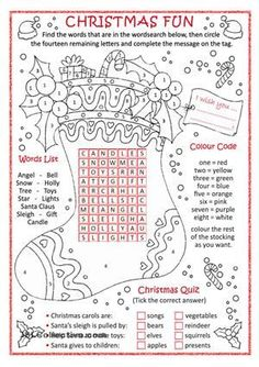 Christmas fun activities for young students with three tasks. Have fun and ... Merry Christmas to all! - ESL worksheets