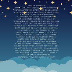 Tänään jaan poikani lukiossa kirjoittaman aineen: Vesa ja Asperger. 🧢🧢🧢🧢🧢🧢🧢🧢🧢 Autismikirjon henkilöiden oma ääni kuuluu vielä liian harvoin. Kiitos @vlampi , että saan jakaa tämän 💞💞💞💞 Mitä sana autismi sinussa herättää?  Haluaisitko kysyä minulta tai Visalta aiheesta?  Tiedoksi myös: Huomenna 2.4. @autismiliitto pitää klo 10-11 ja 17-18 Facebook liven. Siellä voi kysyä mitä vain autismikirjoon liittyvää! #tunneautismi #erityisvanhemmuus #autismitietoisuus Adhd, Weather, Facebook, Poster, Weather Crafts, Billboard