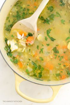 from The Harvest Kitchen / this nourishing, comforting Roasted Garlic Chicken Soup is all about the broth.Roasted garlic is blended in with the broth with back notes of ginger and lemon.