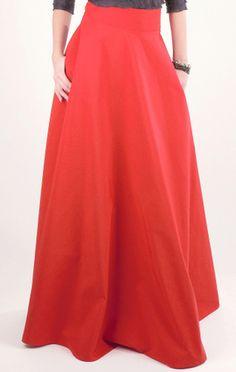 Fusta lunga de eveniment din bumbac usor satinat, Cardinale Rosa, croi in clos, rosu-coral, Marimea 42 - eMAG.ro