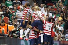 US Men's National Team celebrates after scoring goal vs. Mexico in the historic 1-0 win at Azteca. 8/15/12