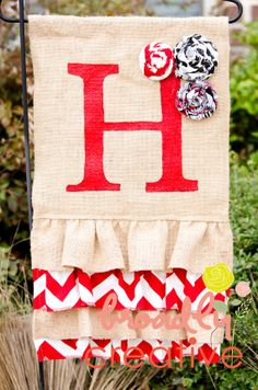 burlap ruffle garden flag  red chevron by BroadlyCreative on Etsy, $42.00