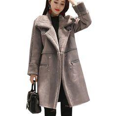 Happy Deal $41.59, Buy Winter Deerskin Windbreaker Womens New 2017 Temperament Long Coats Double breasted Lambswool Thick Gray Female Warm Trench coat