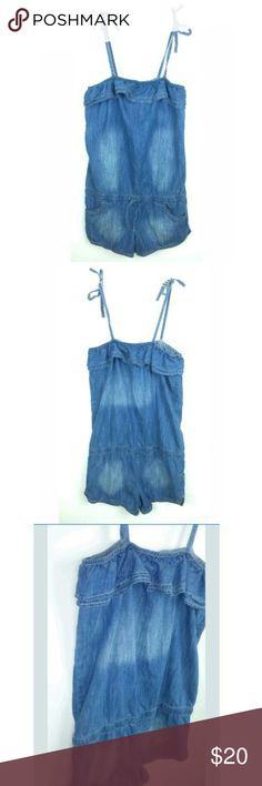 daa136d0afc Justice Girls Denim Jean Romper Ruffle Tie Strap Justice Girls Size 16  Romper Denim Blue Jean