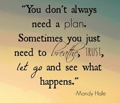 """You don't always need a plan. Sometimes you just need to breathe, trust, let go, and see what happens."" - Mandy Hale"