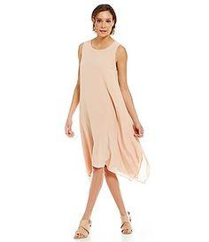 f33a4fe3c6d Eileen Fisher Silk Dipped-Hem Dress Daytime Dresses