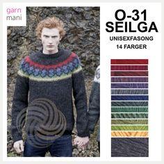 O-31 SEIGLA Unisex, 14 farger - Garnmani.no - Spesialist på islandsk garn Men Sweater, Unisex, Pullover, Spring, Sweaters, Black, Design, Fashion, Model
