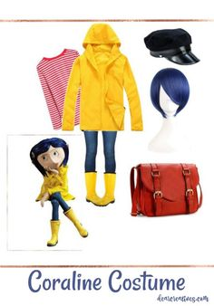 Easy No Sew DIY Coraline Halloween Costume Coraline Halloween Costume Idea, this can be an easy last minute Halloween costume or for CosPlay. This is a no sew Coraline Costume DIY, with resources for making your own costume. Coraline Halloween Costume, Couples Halloween, Last Minute Halloween Costumes, Halloween Costumes For Teens, Easy Costumes, Halloween Cosplay, Teen Costume Diy, Cute Teen Halloween Costumes, Easy Disney Costumes