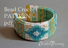 """This listing is for the pattern of """"Mediterranean Breeze"""" bead crochet bracelet. The pattern uses a beautiful combination of colors and symbols for a very Mediterranean and luxurious look."""