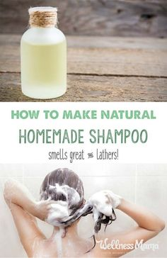 This homemade shampoo is all natural and has four ingredients (or less depending on hair type) that cleans hair naturally without stripping natural oils. This homemade natural shampoo smells great, works well, and lathers! Diy Shampoo, Natural Shampoo Homemade, Natural Hair Shampoo, Homemade Shampoo And Conditioner, Homemade Shampoo Recipes, Organic Shampoo, Castile Soap Shampoo, How To Make Shampoo, Homemade Soaps