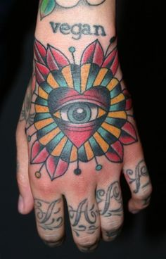 Steve Byrne heart with eye Tattoo Picture