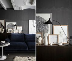 Moody gray and white interior design by the duo at Maison Hand. Seen on Eclectic Trends