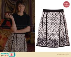 Rachel's printed flared skirt on Glee. Outfit Details: http://wornontv.net/28001 #Glee #fashion