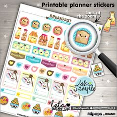 Breakfast Stickers, Planner Stickers, Kawaii Stickers, Printable Stickers, Instant Download, Planner Accessories, Organizing Stickers, Fun Stickers, Etsy, Lilipops, Let's Paper Up