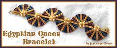 peyote bracelet patterns free   EGYPTIAN QUEEN BRACELET- Netting stitch, ladder stitch,