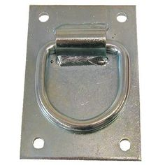 """Cross Tie Mounting Plate Single by Other. Save 37 Off!. $5.75. Heavy duty plate.. Rugged 4"""" x 5"""" zinc-plated steel mounting plate provides extra strength to insure safety. 3/8"""" hot rolled steel ring, butt welded to prevent separation, is hinged beneath the heavily welded support loop. 2"""" Loop allows the use of nearly any type of tie rope. Screws not included."""