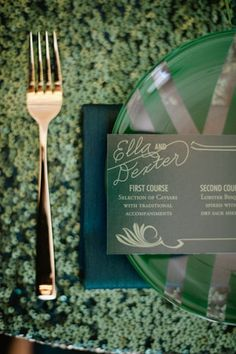 emerald green wedding place setting