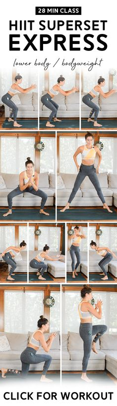 HIIT Superset Express Workout (28 Mins): Lower Body Focus | No equipment needed for this HIIT Superset class! The Express version is quicker, with three supersets instead of five. Warm up and cool down included. #hiit #intervaltraining #homeworkout Hiit Workout Videos, Leg Day Workouts, Fun Workouts, Body Workouts, Workout Classes, Circuit Workouts, Month Workout, Workout Challenge, Best Body Weight Exercises