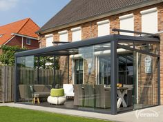 Elegant Glass Verandas provide a protective patio roof connecting your home and garden, a quality aluminium veranda for outdoor living under glass. Pergola With Roof, Patio Roof, Garden Veranda Ideas, Covered Patio Design, Conservatory Design, Garden Room Extensions, Rooftop Design, House Extension Design, Enclosed Patio