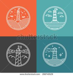 Vector lighthouse logo design templates in trendy linear style - abstract emblems and badges - navigational and travel concepts - stock vector