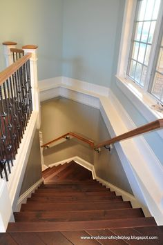 The stairs leading to the The Basement are open and the transition color needed to flow well with the Palladian Blue. The color chosen is Ethereal Mood (Sherwin Williams) Open Basement Stairs, Basement Ideas, Basement Colors, Open Stairs, Basement Office, Basement Laundry, Walkout Basement, Basement Renovations, Palladian Blue Benjamin Moore