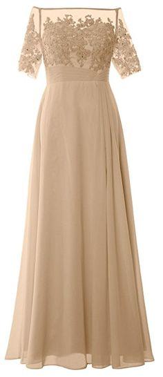 c40ea1af8a0d MACloth Women Off Shoulder Mother of Bride Dress Short Sleeve Lace Formal  Gown (18w,
