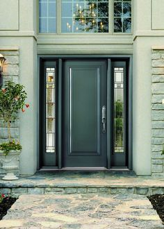 Superieur Image Of Awesome Steel Entry Doors With Decorative Glass For Sidelight  Window Film Including Satin Nickel