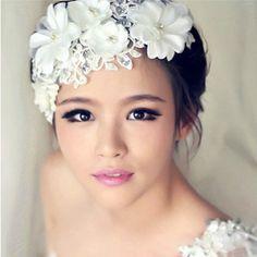 XL Tiara Diadem Spitze Blumen Perlen Strass Haarschmuck Hochzeit Braut Haarband