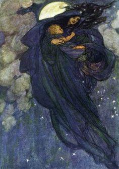 Pre Raphaelite Florence Harrison Night Slid Down Fairies Counted X Stitch Chart