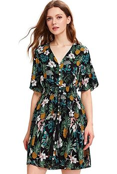 6262c956ebc Casual Dresses - Milumia Women s Boho Button up Split Floral Print Flowy  Party Dress at Women s Clothing store