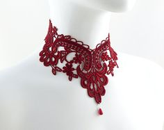 Red Lace Choker Necklace  Jewelry- Victorian Gothic Collar - Elegant, Romantic, Bead Dangle, Wine