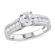 Amour 1 1/2 CT TGW Created White Sapphire Fashion Ring Silver ($56) ❤ liked on Polyvore