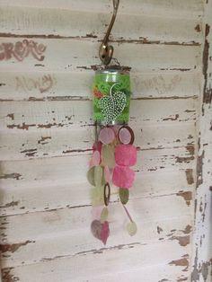 Capiz shell Tin can garden art windchime, Porch decor, Patio decor, Patio Art, Outdoor decoration, Pink and green windchime