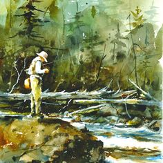 TROUT FISHING Blank Greeting Cards 12 Pack by DeanCrouserArt