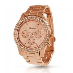 This striking ladies watch has a unique look that is sure to hit the right note with any outfit. The #rose and gold plated watch features a stainless steel back,...