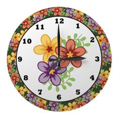 Cartoon Floral wall clock