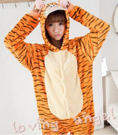 ==> [Free Shipping] Buy Best Adult Onesies Women's Dress Flannel Pajamas Homewear Sleepwear Jumpsuits Cosplay Jumping Tigger Animal Costume Online with LOWEST Price | 32452219799