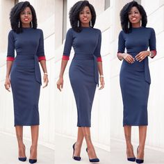 """""""@loft324 Contrast Sleeve Midi Dress. Link in bio for outfit details..."""""""