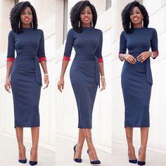 Contrast Sleeve Midi Dress