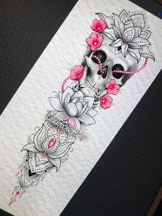 Dope Tattoos For Women, Girl Arm Tattoos, Sleeve Tattoos For Women, Mom Tattoos, Tatoos, Tattoo Femeninos, Skull Girl Tattoo, Skull Tattoos, Body Art Tattoos